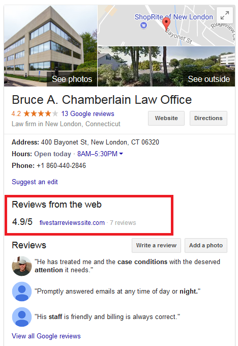 Bruce Chamberlain Attorney Reviews Map