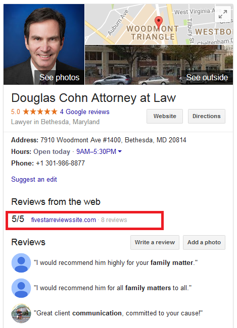 Douglas Cohn Attorney Reviews Map