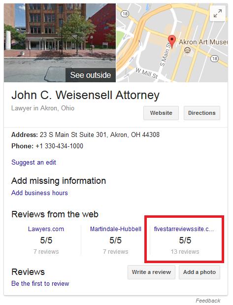 John Weisensell Attorney Reviews Map