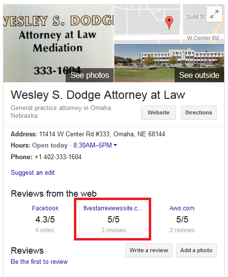 Wesley Dodge Attorney Reviews Map
